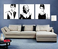 Wall Art Sexy Marilyn Monroe Audrey Hepburn Oil Painting Decoration Unique gift