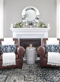 Spring Home Tour! See this beautiful family room decorated for spring. Get the look - see the shopping sources and design ideas.