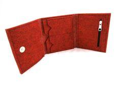 Felt wallet Felt cat wallet Red melange grey by Torebeczkowo