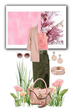 """""""Think Pink"""" by lustydame on Polyvore featuring Designers Guild, self-portrait, River Island, Casadei, WithChic, FOSSIL and Betsey Johnson"""