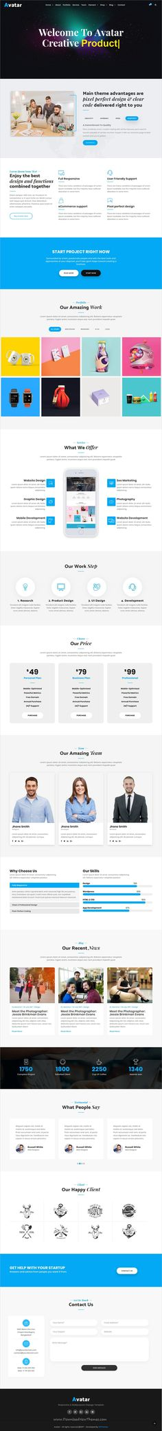 Avatar is clean and modern design responsive #bootstrap template for onepage #business agencies website with 7 niche homepage layouts download now..