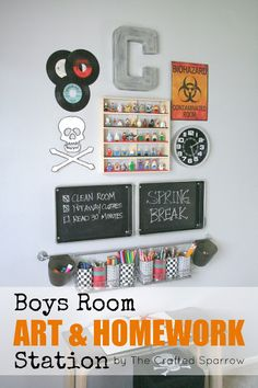 Does your preteen guy need a space for homework and creativity that is distinctly his?  Check out this awesome station from thecraftedsparrow.com