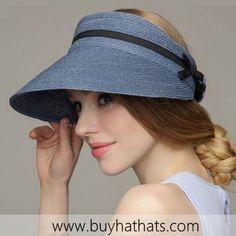 e2adcea870f Bow straw sun visor hat for women UV travel package sun protection hats
