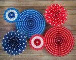 4th of July Red, White and Blue Paper Pinwheel Backdrop Party Wall Decoration Combo Kit - 4.05