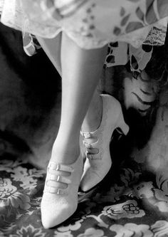 Edward Steichen Shoes 1924 Vogue. (Cream, multi-strap shoes with toe and seam perforation on scalloped detailing(.