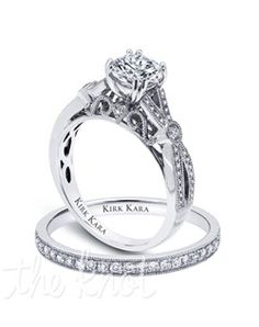 Handcrafted engagement set from the Kirk Kara XO collection. Engagement ring is crafted with 0.20 carats of diamonds (center stone not included). Shown with matching wedding band crafted with 0.14 carats of diamonds