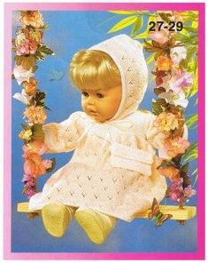 Crochet Dolls Clothes For larger doll. Maybe use 3 ply and smaller needles? - Beautiful free doll clothes patterns for 16 - 20 and 24 inch dolls Knitting Dolls Clothes, Crochet Barbie Clothes, Baby Doll Clothes, Baby Dolls, Babies Clothes, Dress Clothes, Girl Dolls, Knitted Doll Patterns, Doll Dress Patterns