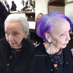 Purple Hair Grandma! Color by @jesstheebesttcolor on @jessicalesaca's grandmother. She wanted to surprise her family and decided to color her hair for the first time EVER! She wanted a rainbow, but since this was her first time coloring her hair, Jess didn't want to do any bleach, so she did straight violet, wild orchid, agent, blue Pravana with Olaplex No.1 all over her pearly white hair. Then, she followed with a generous No. 2 treatment. AMAZING!