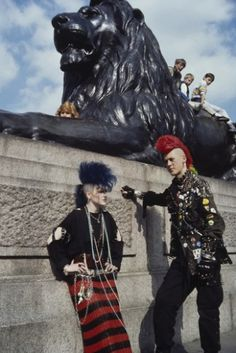 Punks at Trafalgar Square, London in the 1980s. Photo by Chris Parker.
