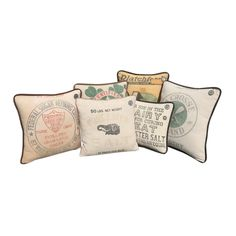 Most prints on American Vintage sacks were round, a left over from when there was no industrial weaving and images were printed on barrels. Sacks, Barrels, Vintage Cotton, Cotton Linen, Weaving, Industrial, Nyc, Throw Pillows, Pure Products