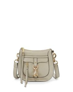 Rebecca Minkoff Leather Dog Clip Saddle Bag, Khaki