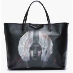GIVENCHY Large Black Pvc Madonna Printed Antigona Shopper Tote ($1,025) ❤ liked on Polyvore