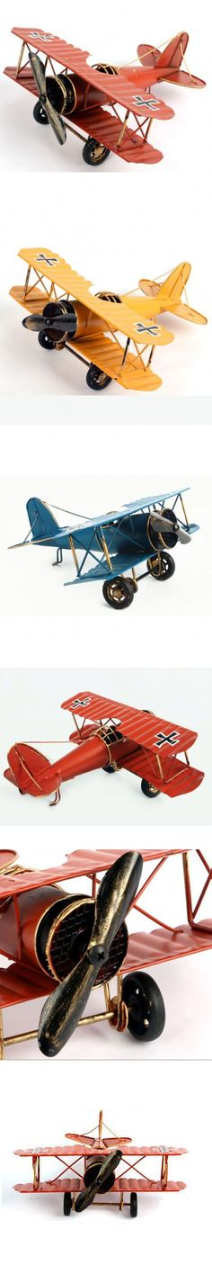 Tin Plate Aircraft Model Handmade Metal Crafts Airplane 3 Colors Iron Plane Retro Style Antique Imitation Home Decor Unique Gift $14.78