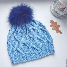 Шапки ручной работы. Ярмарка Мастеров - ручная работа. Купить Голубая шапочка. Handmade. Голубой, шапка вязаная, шапка