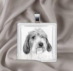 PBGV Dog Drawing on a Glass Pendant by glendaharlan on Etsy, $20.00
