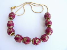 Pandora style burgundy paper bead necklace by MagdaCrafts on Etsy