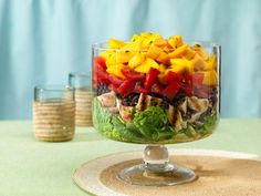 Layered Caribbean Chicken Salad-  I don't like the fruit so a chunky layer of avocado on top would be great
