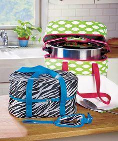 Slow Cooker Carriers Holds 6 Quart Crockpot Carrier Bag Green Diamonds or Zebra