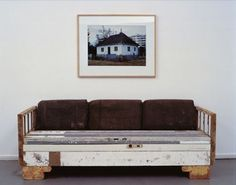"""""""A picture of a house is taken before its demolition. A sofa is built from the building rubble of the house. The sofa is a portrait of the house in design and colours. The framed photo is hanging above the sofa"""" - Michael Sailstorfer Diy Pallet Furniture, Recycled Furniture, Recycled Wood, Repurposed, The Snow, Sofa Design, Furniture Design, Interior Design, Homemade Couch"""