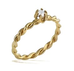 14k Gold Romantic Diamond Tied Rope Engagement Band