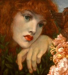 Dante Gabriel Rossetti (1828-82) - La Ghirlandata, 1873. (Painted at Kelmscott with model Alexa Wilding, the angel heads painted from Jane Morris' daughter May) : detail