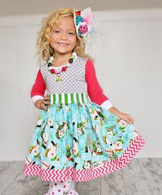 This Blue & Red Snowmen 3/4 Sleeve Dress - Infant, Toddler & Girls is perfect! #zulilyfinds