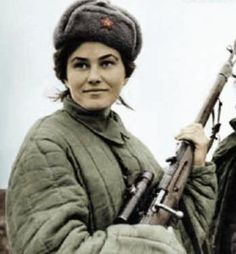 Major Lyudmila Pavlichenko is regarded as the most successful female sniper in history with 309 confirmed kills. Pavlichenko was a 24 year old university student when Germany invaded Russia. She was one of the first sets of citizens to volunteer for service and specifically requested infantry service. She refused an offer to become a nurse. Due to her accuracy with a rifle she became one of the first 2,000 female snipers in the Soviet Union. She was one of only 500 to survive the war.