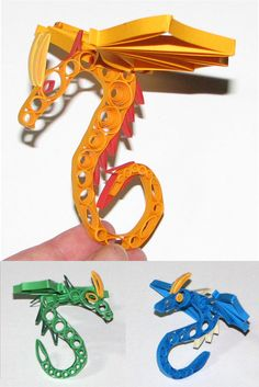 quilled paper dragons. look on art projects in bookmarks for quilled butterflies