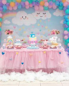 Baby Girl Birthday Cake, Rainbow First Birthday, Unicorn Themed Birthday Party, Birthday Parties, 1st Birthday Girl Decorations, Girl Birthday Themes, Baby Girl Shower Themes, Baby Shower, Diy Unicorn Cake