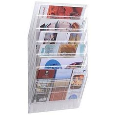Z01. Durable Flexiboxx Literature Holder Wall Mountable 6 Pockets Landscape A4 Clear Ref 1709785400