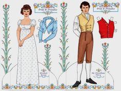 Pride And Prejudice - Jane Austen Dress Up Paper Dolls - by Dover Publications - looks like the BBC version Paper Toys, Paper Crafts, Jane Austen Book Club, Kids Dress Up, Dover Publications, Pretty Designs, Vintage Paper Dolls, Paper Models, Pride And Prejudice