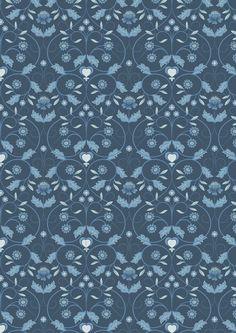 Mono Floral, Blue Tones, Irene, Color Show, Delicate, Colours, Traditional, Silver, Fabrics