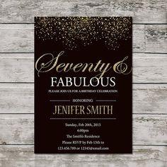 Printable Seventy Birthday Invitation Women PRINTABLE And Fabulous Invite Golden 70th