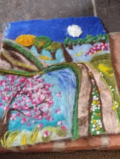 needle felted art needle felt picture felted landscape