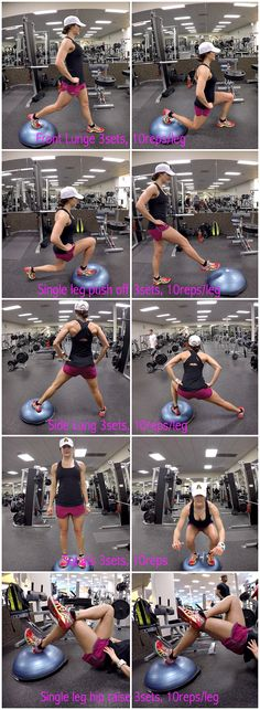 5 Quick Bosu Ball Leg Exercises. Bosu Ball is great because you use your own body weight. Bosu Ball is you are always using your core muscles to help with stability,