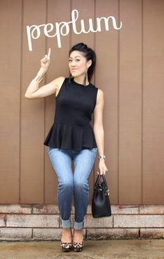 #peplum + denim for a casual outfit.