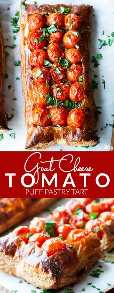 This Goat Cheese Tomato Tart is a wonderfully easy, show-stopper recipe. It' perfect for summer entertaining and for using up in-season cherry tomatoes! | Summer Recipe | Tomato Tart Recipe | Goat Cheese Tart | Puff Pasty Tart | Tomato and Basil Recipe | Entertaining Recipe