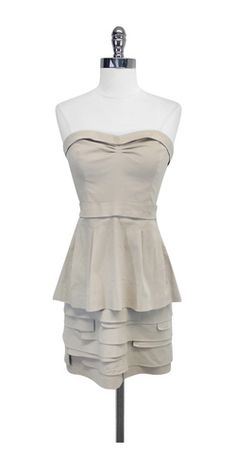 Light Taupe Cotton Strapless Dress