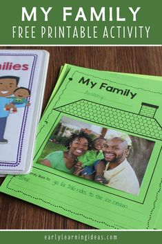 Find activities and ideas for your My Family or All about Me theme unit or lesson plans in your preschool or pre-k classroom.  Kids can draw pictures or add a photo of their family on this free printable activity sheet.  Use as a take-home activity to get parents involved.  Display on the bulletin board or bind all your students' pages together to make a class book to share at circle time or leave in your class library.  Use at Thanksgiving or during the first week too. Phonemic Awareness Activities, Language Activities, Hands On Activities, Literacy Activities, Class Books, Class Library, Early Learning, Fun Learning, Learning Sight Words
