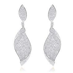 18K Gold Ladies Designer Diamond Leaf Earrings 3 carats – wh …
