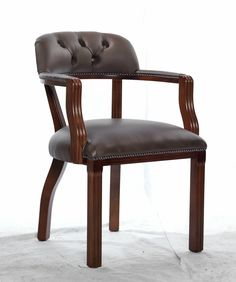 Court chair armchair dining chair chesterfield - brown green - real leather wood   eBay