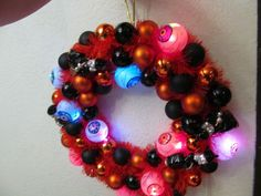 Halloween Lights up all Colors. Wreath,  Plastic Witch, Ornaments