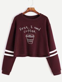 Shop Burgundy Printed Striped Trim Crop Sweatshirt online. SheIn offers Burgundy Printed Striped Trim Crop Sweatshirt & more to fit your fashionable needs.