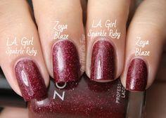 L.A. Girl 3D Effects Collection Sparkle Ruby vs Zoya Blaze