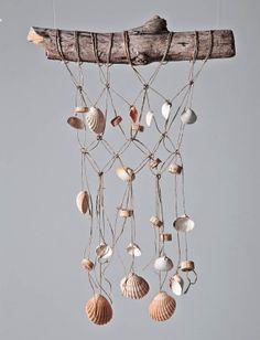shells with holes + macrame twine = wind chime-like weaving