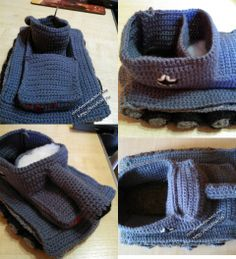 фото вязаных тапочек в виде танка Crochet Tank, Knit Crochet, Knitted Booties, Military Gifts, Knitting Socks, Lana, Free Pattern, Crochet Patterns, Slippers