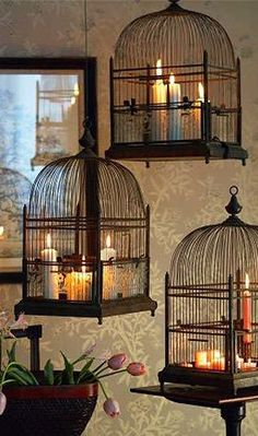 New life for old bird cages! (Cottage House) More #birdhouseideas