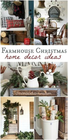 Farmhouse Christmas Decorating Ideas & inspiration for your home - lots of great tips! These farmhouse Christmas decorating ideas will inspire your home decor for the holiday season. Inspiration for your porch, family room, kitchen and more! Merry Little Christmas, Noel Christmas, Christmas Projects, Winter Christmas, All Things Christmas, Holiday Crafts, Vintage Christmas, Christmas Ideas, Homemade Christmas