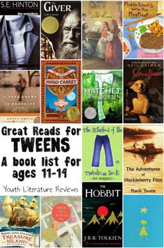 "Great Reads for Tweens In my experience, one of the most difficult age groups to find books for is 11 to 14 years old. For young teens and pre-teens, also known ""tweens,"" finding books can be tricky. As kids start to outgrow much of the independent reader Book Suggestions, Book Recommendations, Good Books, Books To Read, Ya Books, Books For Tweens, Tween Books, Middle School Books, Middle Ages"