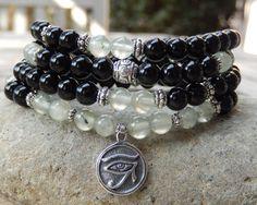 Prehnite & Onyx Mala, Yoga Wrap Bracelet, Meditation Bracelet, Necklace, 108 Prayer Beads, 1st and 4th Chakra, Healing, Reiki infused by SoulTresures on Etsy